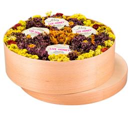 подарочный набор мед и варенье 4 баночки меда и варенья на выбор 90 мл с вашим лого с травами для чая
