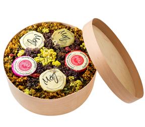 Подарочные набор варенья и меда с брендированной крышкой 5 баночек по 90 мл